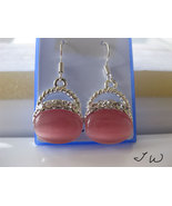 Opal .925 Sterling Silver Earrings - Pink - $10.99
