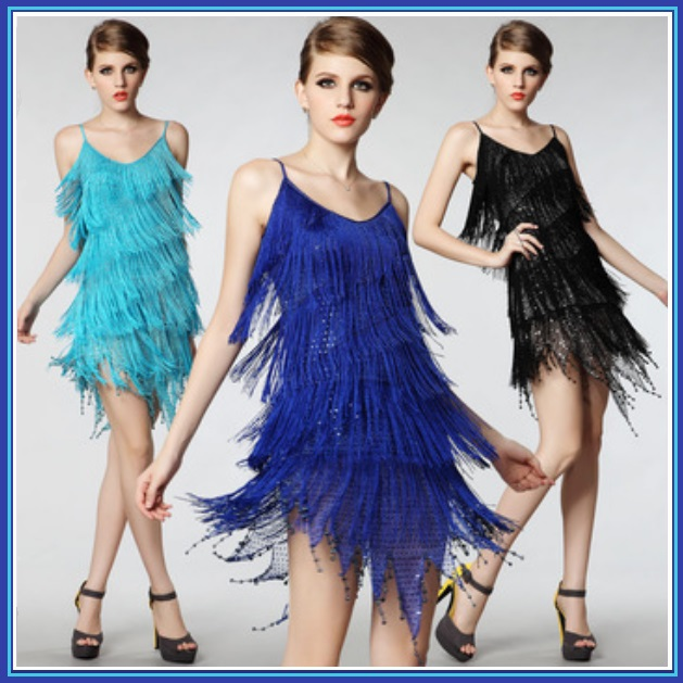 FLAPPER GIRL Fringed Tassel Sequined Mini Roaring 20's Costume in Five Colors