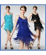 FLAPPER GIRL Fringed Tassel Sequined Mini Roaring 20's Costume in Five C... - $89.95