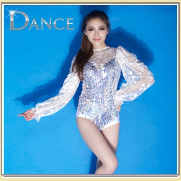 Sheer Lace Sleeves Sequined Body Suit Stage Dance Outfit