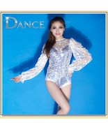Sheer Lace Sleeves Sequined Body Suit Stage Dance Outfit - $119.95