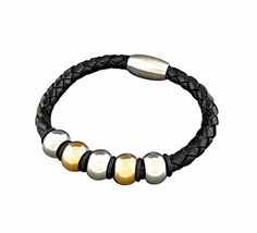 QBL17 Rumoi Black Braided Leather & 2-Tone Stainless Steel Magnetic Brac... - $19.95