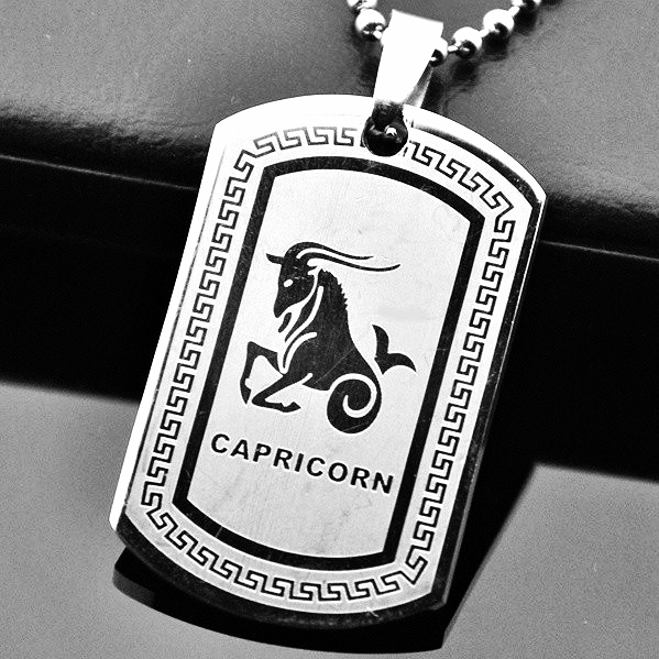 Qp34 Capricorn Zodiac Quantum Pendant Dog Tag Stainless