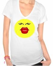 Kiss Face Ladies V-Neck - $12.00