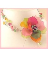 Tropical Colors Floral Cluster Necklace & Earring Set - $24.99
