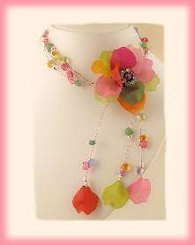 Tropical Colors Floral Cluster Necklace & Earring Set