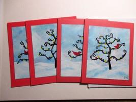 Hand Painted Christmas Card, Holiday Card, Set of 4, Whimsical Christmas... - $14.90