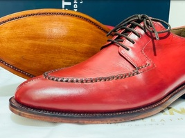 Handmade Men's Red Leather Lace Up Oxford Dress/Formal Shoes image 7