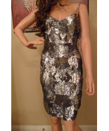 NWT THEIA Spaghetti Strap Silver Sequin Cocktail Dress Sz 4 NEW (MAKE AN... - $492.53