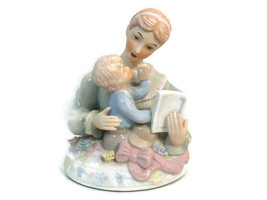 Brahms Waltz Wind Up Musical Box Mother Reading To Baby Glazed Pottery B... - $25.73