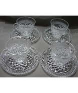Anchor Hocking Wexford Diamond Glass Set of 4  Cups and  Saucers - $29.99