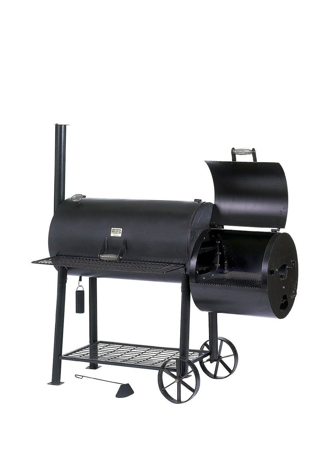 Black Jumbo Charcoal Smoker Grill Combo w Side Box Work Area Patio BBQ Cooking