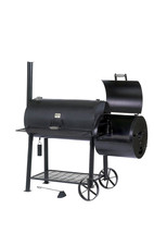 Black Jumbo Charcoal Smoker Grill Combo w Side Box Work Area Patio BBQ C... - £708.80 GBP