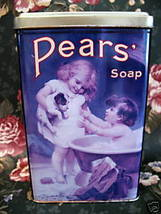 Vintage PEARS SOAP Tin HIS TURN NEXT PUPPY DOG BATHTUB Collector Collect... - $14.95