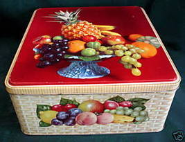 Vintage JACOBS Biscuits Tin Cookie Tin FRUIT BASKET Weave Souvenir Colle... - $19.95