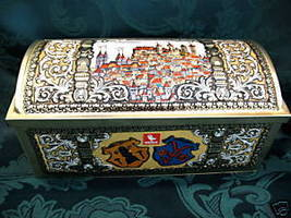 MAX WEISS Vintage GERMAN Cookie Tin GERMANY Treasure Chest Biscuits Coll... - $19.95