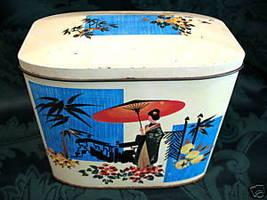 Vintage GRAY DUNN Biscuits Tin Cookie Tin ORIENTAL Japanese GEISHA GIRL ... - $24.95
