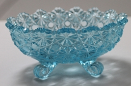 Vintage L. G. Wright Aqua blue Daisy & Button Pressed Glass Footed Candle Holder - $14.00