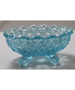 Vintage L. G. Wright Aqua blue Daisy & Button Pressed Glass Footed Candl... - $16.00