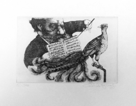"""Charles Bragg """"Untitled (Conductor & Peacock)"""" ... - $240.00"""