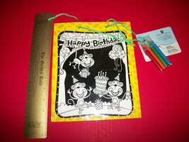 Home Gift American Greeting Bag Set Fuzzy Monkey Party Draw Craft Kit Art Marker - $4.74