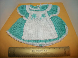 """Toy Treasure Doll Clothes Set 17"""" Dollie Crochet Dress Outfit Apron Turquoise - $14.24"""