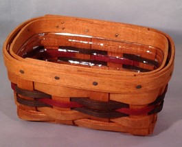 Longaberger Hostess Business Card Basket w/ Colored Weave & Protector - $27.39