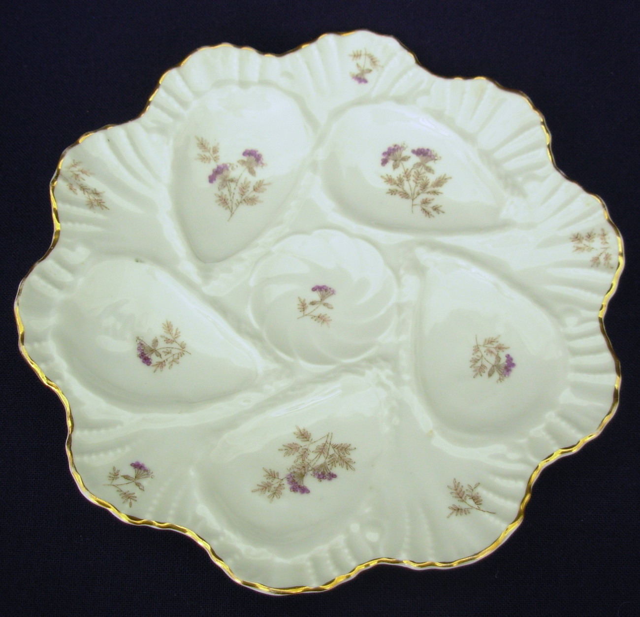 Primary image for antique 5 well porcelain Oyster Plate White Lavender Floral #2