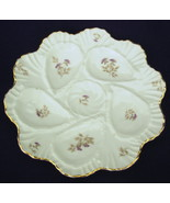 antique 5 well porcelain Oyster Plate White Lavender Floral #2 - $65.00
