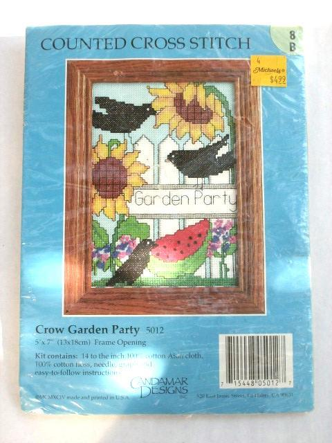 Candamar's CROW GARDEN PARTY Counted Cross-Stitch Kit, NEW!