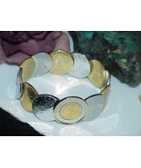 QVC Bronzo Italia 14K Gold Clad Authentic Lire 12 Coin Cuff Bangle Brace... - $173.24