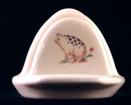 Shannonbridge Potteries Irish stoneware toast rack with pig motif - $16.89