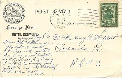 Hotel Brewster San Diego California Vintage 1913 Post Card