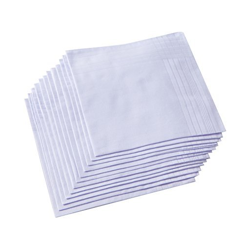 Men's Pure White 100% Cotton Handkerchief Pack of 6 … image 4