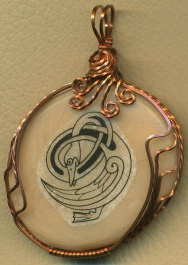 Primary image for Celtic Goose Design Copper Wire Wrap Clay Pendant 13