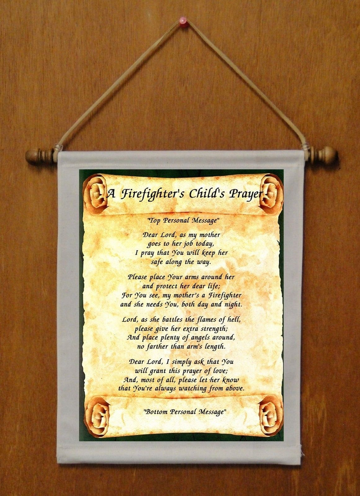 A Firefighter's Child's Prayer (for Mom) - Personalized Wall Hanging (302-1m)