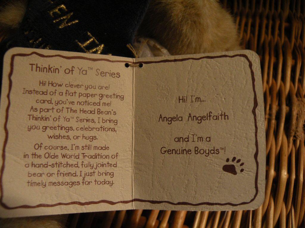 BOYDS BEAR Angela Angelfaith Angel NWT When in doubt, look up! CUTE!