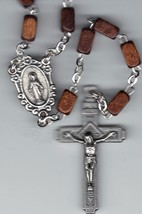 Rosary - Brown Square Wood Beads - MB-1010A/BROWN