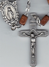 Rosary - Brown Square Wood Beads image 2