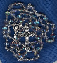 Rosary - Clear 7mm Lock Linked Aurora Glass Bead - MB80-C-1085A - $21.99