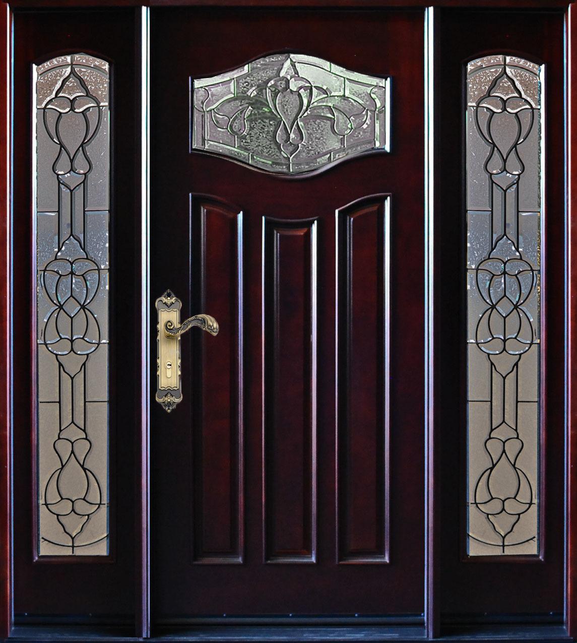 Paris Exterior Front Entry Wood Door With Sidelight 30 X 80 Doors