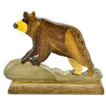 Northwoods Handmade Wooden Parquetry Black Brown Bear Sculpture Figurine image 3