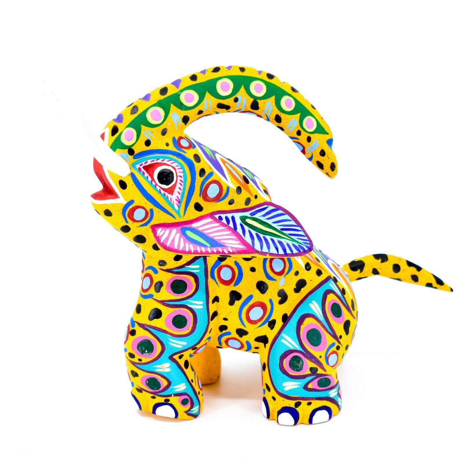 "Handmade Alebrijes Oaxacan Painted Carved Wood Folk Art Elephant 6"" Figure"