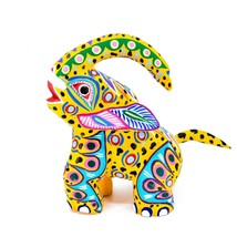 "Handmade Alebrijes Oaxacan Painted Carved Wood Folk Art Elephant 6"" Figure image 1"