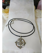 Compass Necklace Brown Cotton Cord 16-18 inches Women Men - $9.89