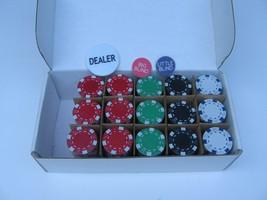 300 Casino Poker Blackjack Betting Chips Texas Holdem Dealer&Blind Butto... - $19.34