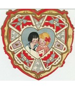 Vintage Valentine Card Sailor Suit Boy and Blonde Girl Whitney Made Heart - $6.92