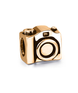 9ct SOLID GOLD Photography CAMERA Vacation Fits EURO BRACELETS Charm Bead - $143.55