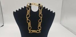 Vintage Monet Gold Tone New Wave Wire Design Link Necklace Falcon Crest ... - $25.14