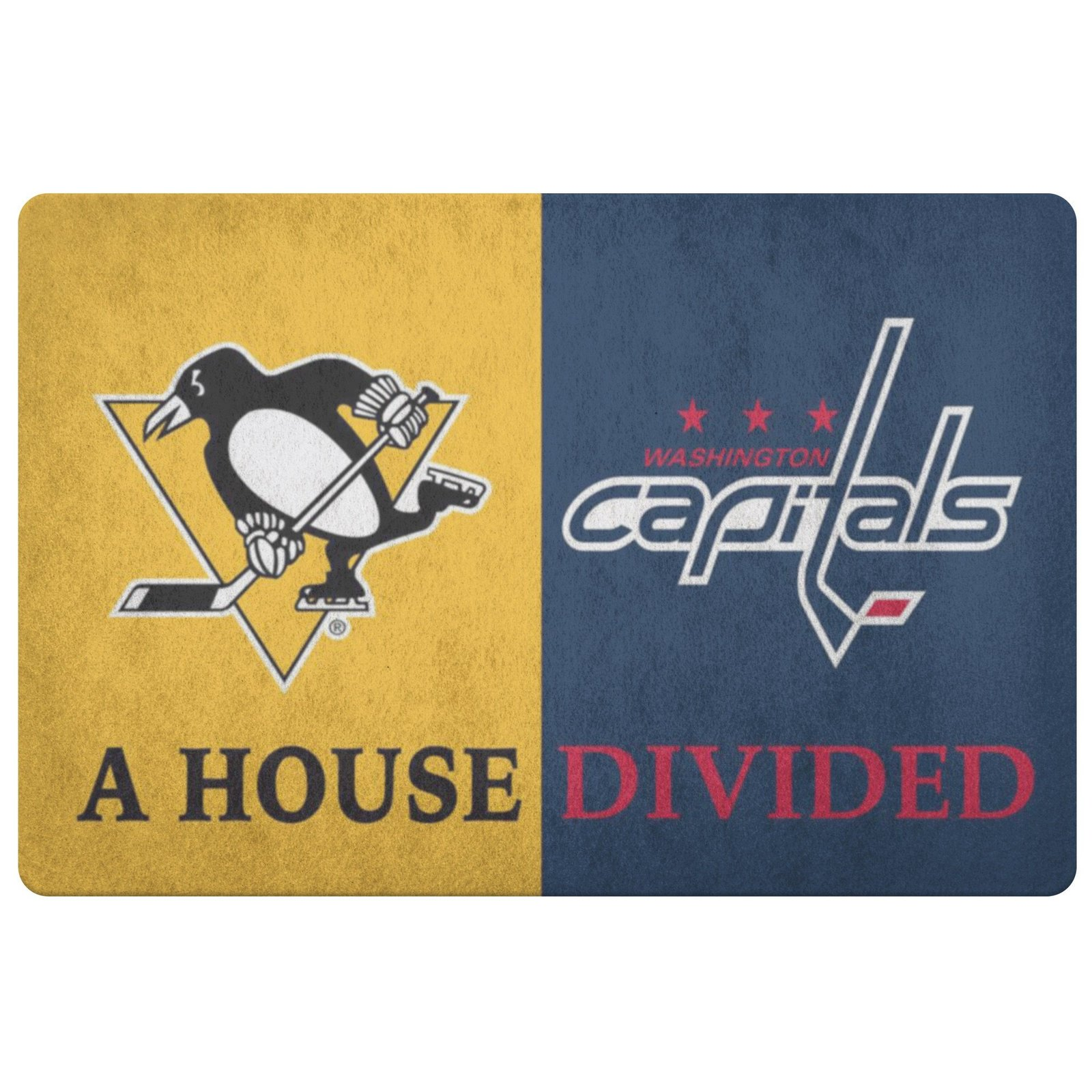 Washington Capitals Pittsburgh Penguins Hockey Welcome Doormat House Divided Man